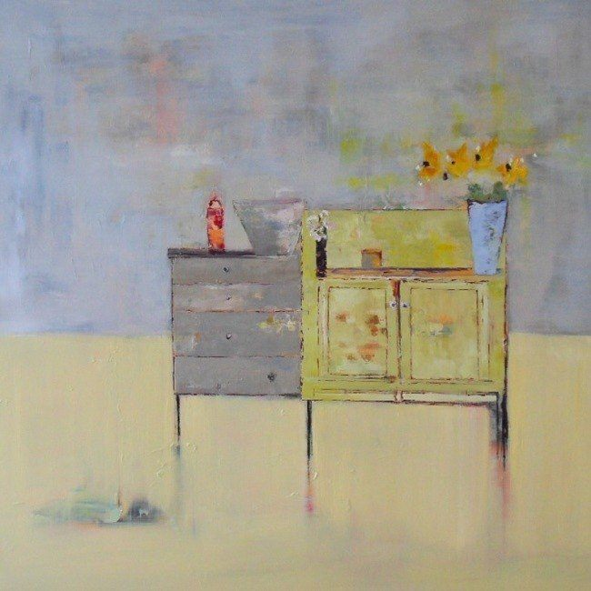 Yellow Cabinet / 100 x 100cm / Oil on Canvas